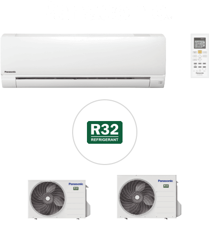 Image of some Panasonic R32 air conditioning units with controller