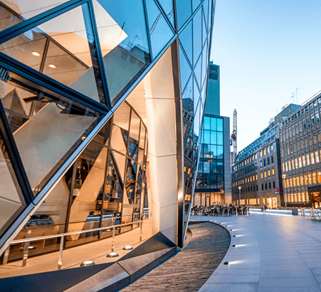 Image of a London office-scape shown from street level