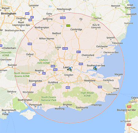 Image showing service coverage of our air conditioning specialists across London and the Home Counties